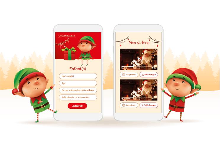 Illustration de 2 lutins joyeux présentant la plateforme numérique Père Noël en direct sur téléphone mobile